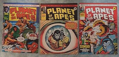 Planet of the Apes UK Marvel Comic Magazine Lot of 3 Issues