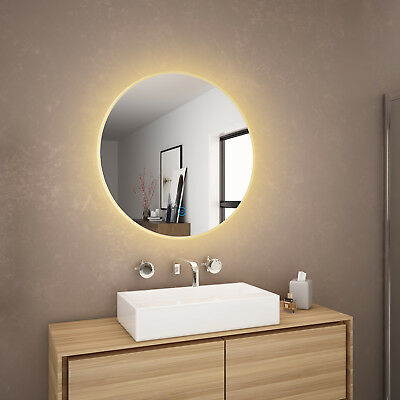 600x600mm Bathroom LED Round Mirror Touch Switch Anti Fogging Soft Yellow Light
