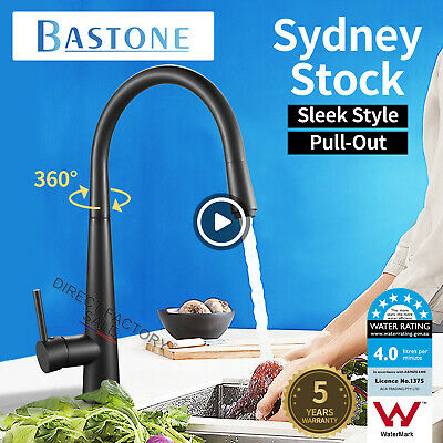 Brass Electroplated Black Pull Out Swivel Kitchen Sink Mixer Tap Basin Faucet