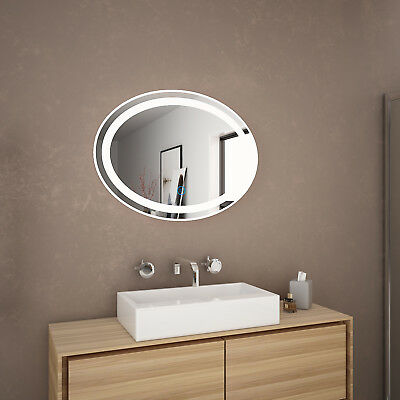 800x600mm Round Shape Bathroom LED Mirror Touch Switch Wall mounted Anti Fogging
