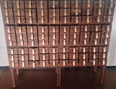 1960s huge • APOTHECARY • wood card catalog / Man Cave Xmas Christmas Holidays