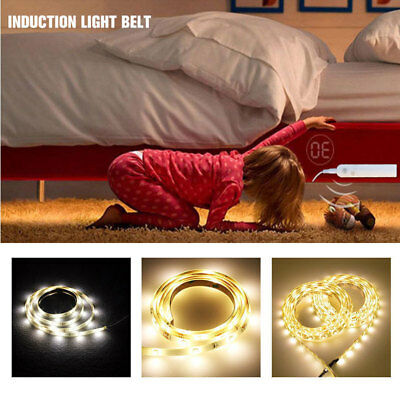 LED PIR Sensor Strip Auto Motion Activated Battery Operated Bed Flexible Light