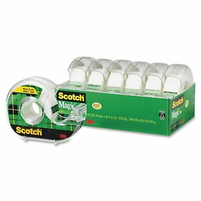 Scotch Magic Tape and Refillable Dispenser, Writeable, 3/4 x 650 Inches, 6-Pack