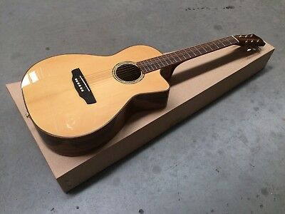 Timberidge 'TR Series' Spruce Solid Top Acoustic-Electric Parlour Cutaway Guitar