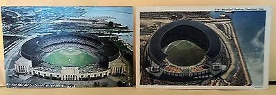 Lot of 2 Vintage Postcards Municipal Stadium Cleveland Ohio Lake Erie