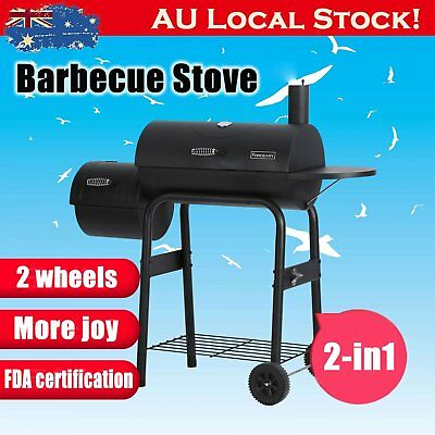 BBQ Smoker Offset Grill Charcoal Wood Barbeque Cooking Chamber Roaster 2in1 RR