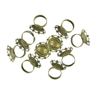 10pcs Antique Bronze Heart Flower Finger Ring Blanks Cabochon Pad Size 25mm
