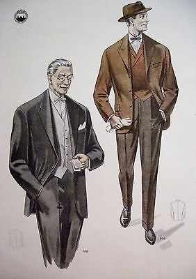 Vintage Art Deco Print of Men's Fashion Suits - One Grey & One Brown *