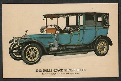 e802) COLLECTORS REPRODUCTIONS POSTCARD OLD CARS : 1912 ROLLS ROYCE SILVER GHOST