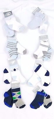 Baby Boy Cuff Ankle Socks 6 12 24 Months Blue White Gray First Impressions