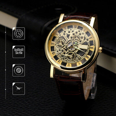 Commercial watch automatic mechanical stainless steel disc PU watch waterproof