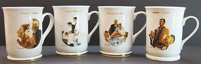 "4 Norman Rockwell Mug 4 Freedoms Speech Worship from Want from Fear 4 3/4"" Hght."