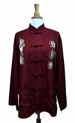 """Chinese Jacket Top Sz XL 46"""" Chest Maroon Gold Embroidered Unisex Shirt"""