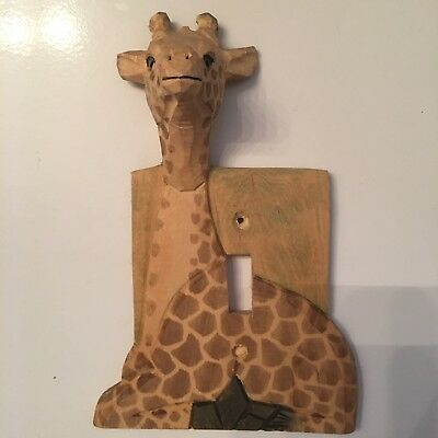 Hand Carved Giraffe Light Switch Cover Nursery Kids Room Decor Decoration