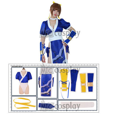 Dead or Alive Kasumi Cosplay Costume Women Girl Blue Cheongsam Suit Outfit