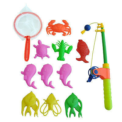 Magnetic Fishing Toy Rod Model Net 10 Fish Kid Children Baby Bath Time Game N6L3
