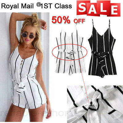 Sexy Women Celeb Stripe Playsuit Party Evening Summer Lady Dress Jumpsuit Shorts