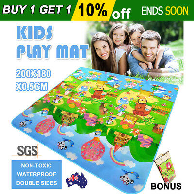 2M×1.8M Kids Baby Play Mat Floor Rug Picnic Cushion Home Camping Waterproof Foam