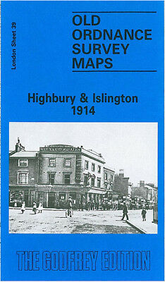Old Ordnance Survey Map Highbury Islington Barnsbury Canonbury Upper Street 1914