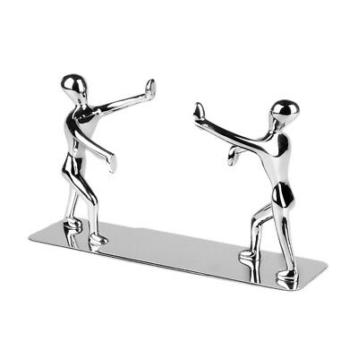 1 Pair Metal Stainless Steel Human-Shaped Bookend for School and Office and Home