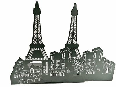 1 Pair Black Metal Pairs Eiffel Tower Bookend for School Stationery and Offce