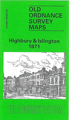 Old Ordnance Survey Map Highbury Islington 1871 Barnsbury Canonbury Upper Street