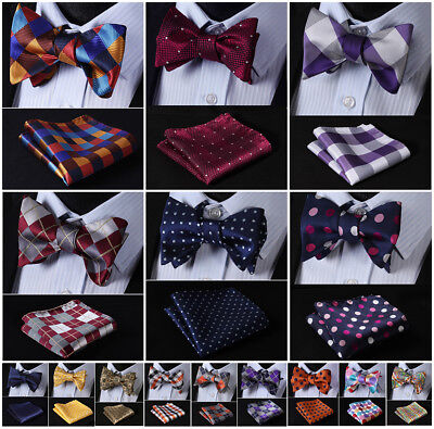 Hisdern Mens Silk Self Bow Tie Check Polka Dot Floral Jacquard Handkerchief Set