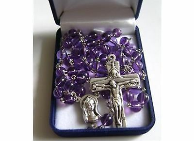 Nice Natural 6Mm Amethyst Beads Rosary & Cross Crucifix Catholic Necklace & Box