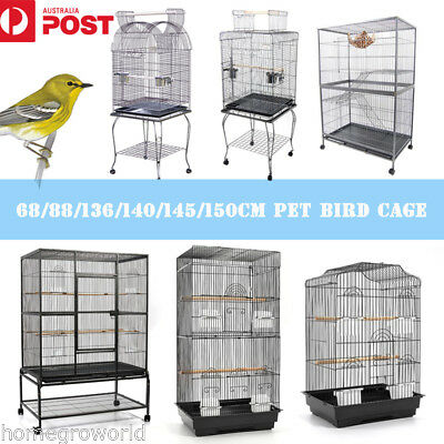 Large Metal Bird Cage Parrot Aviary Pet Stand-alone Budgie Perch Castor Wheels