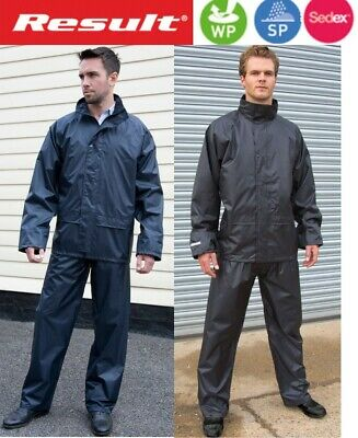 RESULT Rain Suit WATERPOOF Rain Trousers + Jacket - Blue or Black - S to 3XL