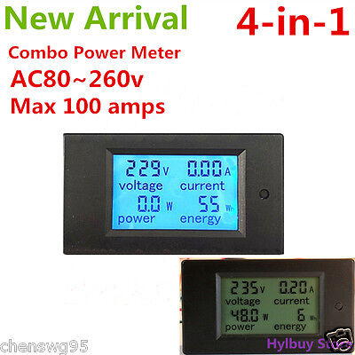AC 100A Power Meters Monitor Volt Amp kWh Watt Digital Combo Meter AC220v 230V