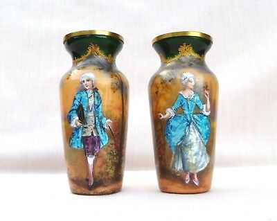 Lovely Signed Antique Pair Of French Limoges Enamel Miniature Vases