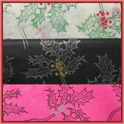 Christmas Holly Tissue Paper 500mm x 750mm Choose Style/Qty