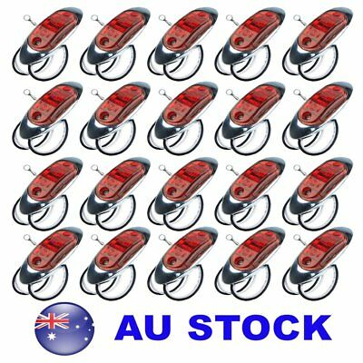 20X 12V 24V Marker Boat Trailer Lorry Light Red LED Side Marker Chrome AU ship