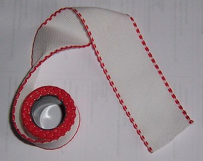 "14 Count Aida Band -2"" wide White with a RED Edging -50 cms long"
