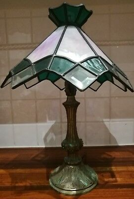 vintage retro antique Tiffany style lamp, beautiful lead light shade with base