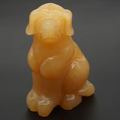 "3.9"" 370g Natural Gemstone Yellow Jade Hand-Carved Dog Statue Home Decor"