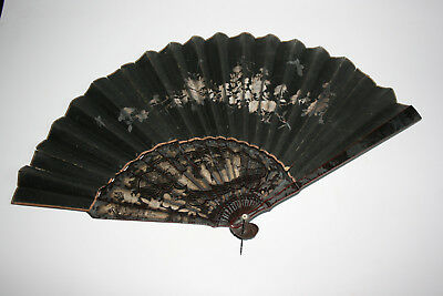 Antique Chinese Bamboo Lacquered Gilt Flower Painting Paper Hand Fan
