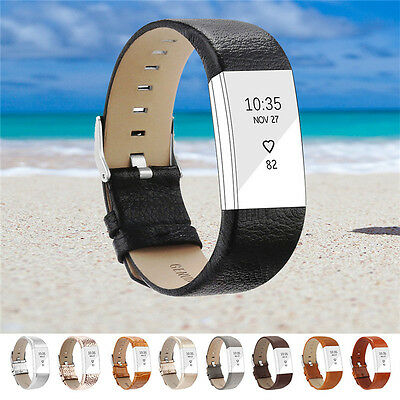Genuine Leather Luxury Wristband Bracelet Band Strap for Fitbit Charge 2 Watch