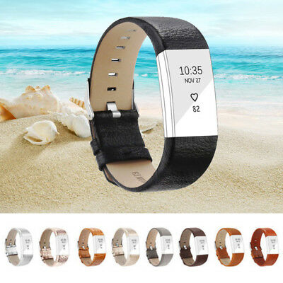 Genuine Leather Replacement Band Bracelet Strap WatchBand for Fitbit Charge 2