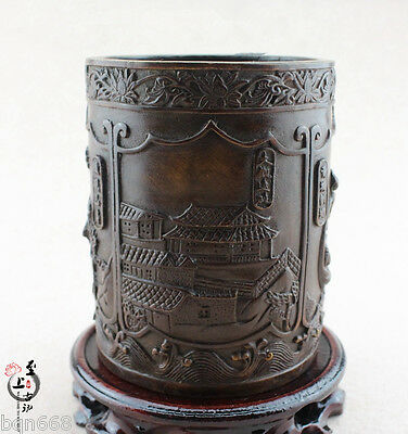 Chinese Old Bronze Carving Palace Fairy Pagoda Brush Pot Pen Vase Study Statue
