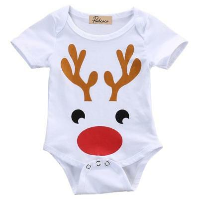 Newborn Baby Boy Girl Christmas Clothes Reindeer Cotton Romper Jumpsuit Outfits