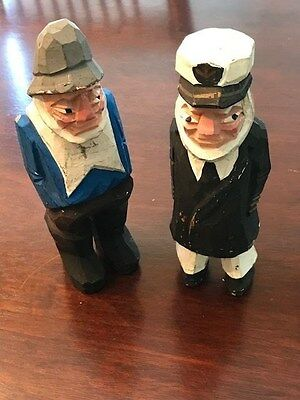 Old Captain and First Mate  Sailor Nautical FOLK ART Hand Carved Wooden Figures