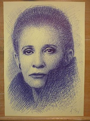 Leia Carrie Fisher Star Wars Original Pen Drawing Art A.Fry