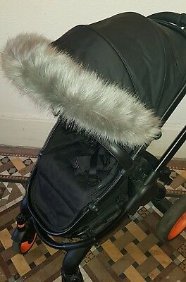 DARK GREY faux fur hood trim-icandy/bugaboo/stokke/my babiie/egg/quinny/M&P/joie
