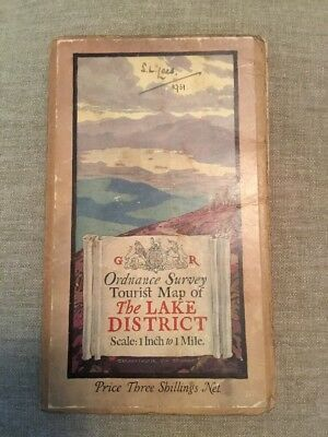 1931 Ordnance Survey Cloth One Inch Tourist Map Of The Lake District