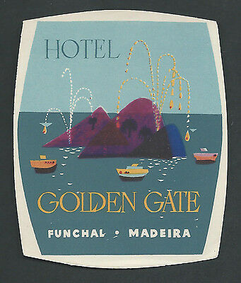 Hotel Golden Gate FUNCHAL Madeira - vintage luggage label