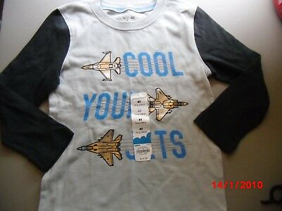 """NWT Jumping Beans 4T Long Sleeve Shirt- Gray """"Cool Your Jets"""""""
