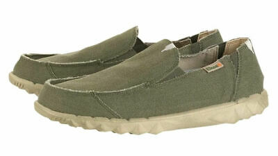 Dude Mens 'Farty' Slip On Canvas Shoes - Musk Green