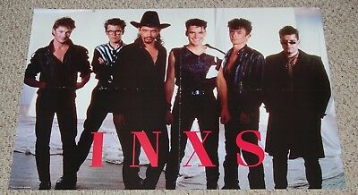 INXS Michael Hutchence Tim Andrew Farriss Group Pose Poster 1980's Personalities